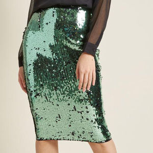 NWT Modcloth Emerald Sequin Skirt, 4/6